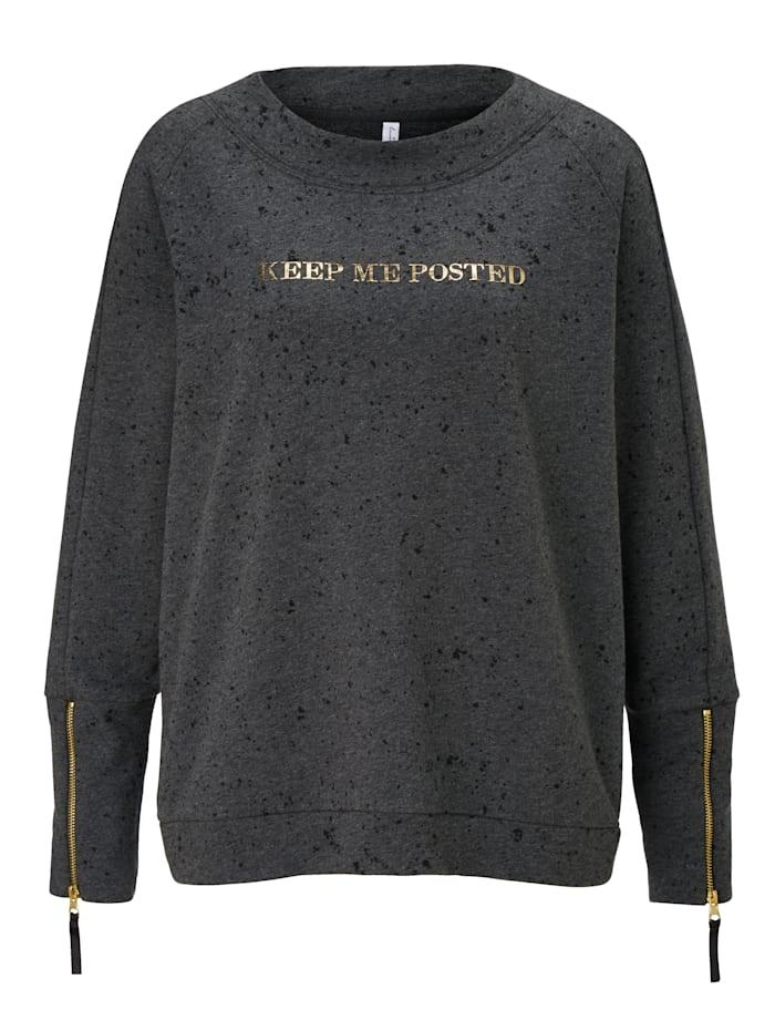 summum Sweatshirt mit goldfarbenen Statement Druck, Anthrazit