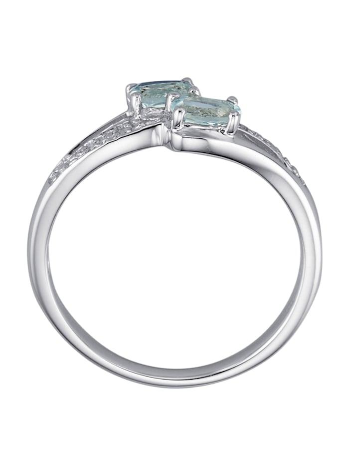 Damenring mit Aquamarinen und Diamanten