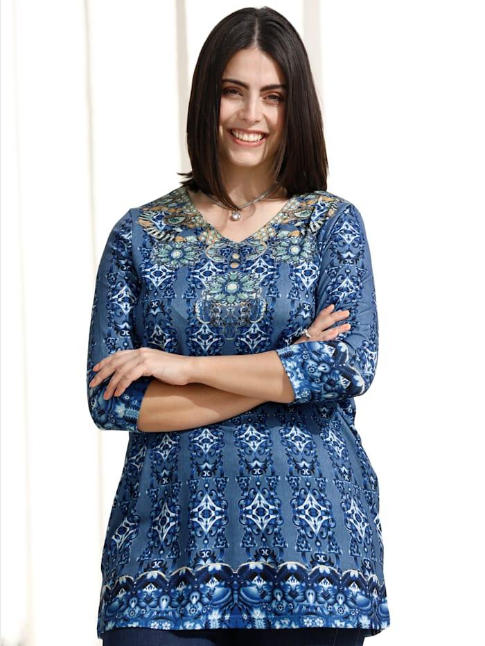 m. collection Longshirt mit modischem Druck, Blau/Weiß/Ockergelb
