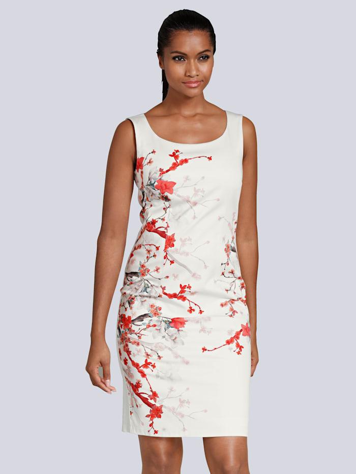 Alba Moda Kleid mit edlem, floralem Print, Off-white/Rot/Braun/Dunkelgrün/Stein