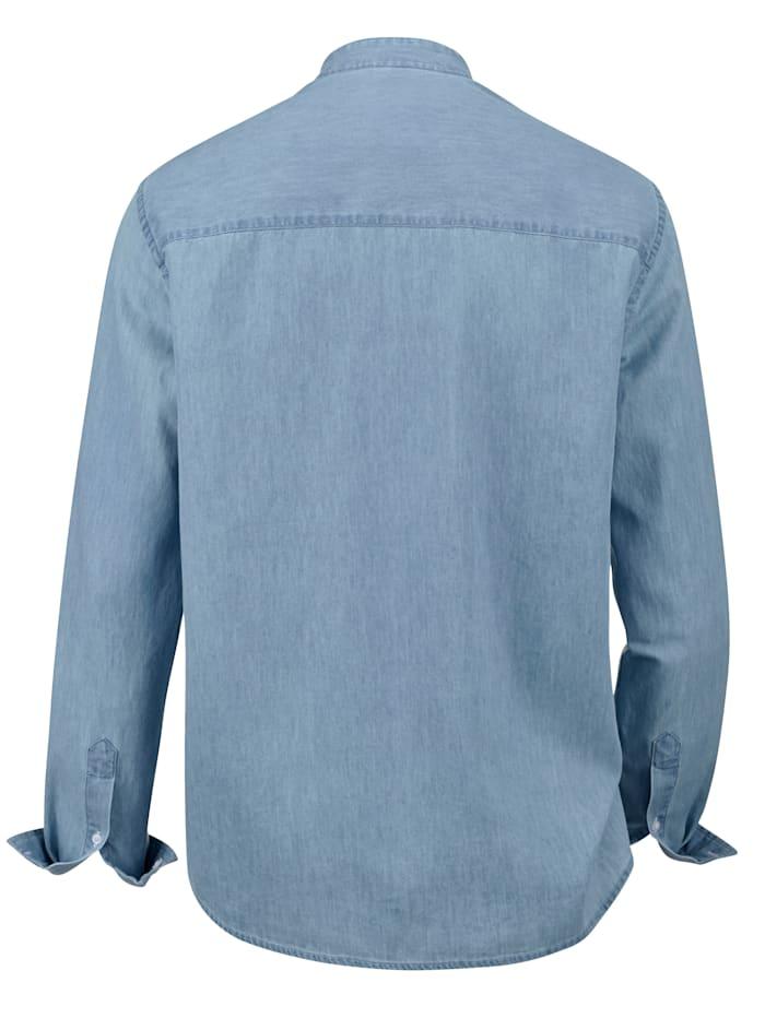 Jeansoverhemd met modieuze opstaande kraag