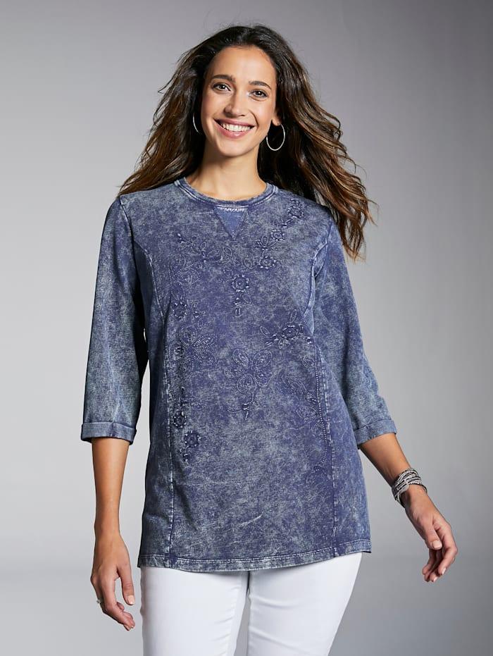 MIAMODA Sweatshirt mit floralen Stickereien, Marineblau