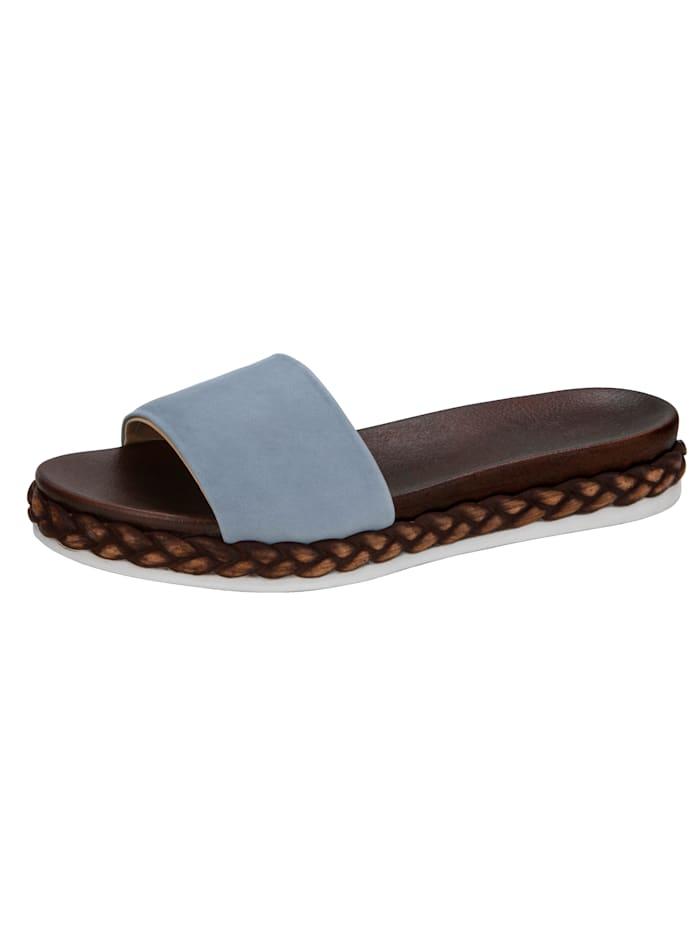 WENZ Pantolette aus hochwertigem Ziegennappaleder, Hellblau