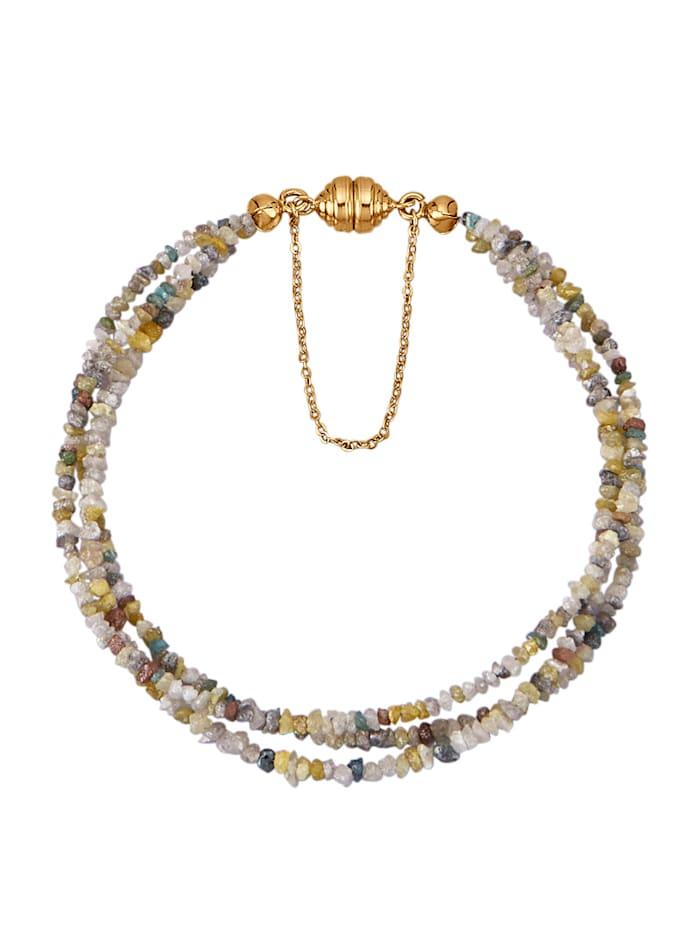 Diemer Atelier 3rhg. Rohdiamant-Armband in Gelbgold 585, Multicolor