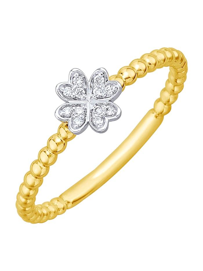 Diemer Highlights Damenring mit Brillanten, Gelbgoldfarben/Weißgoldfarben