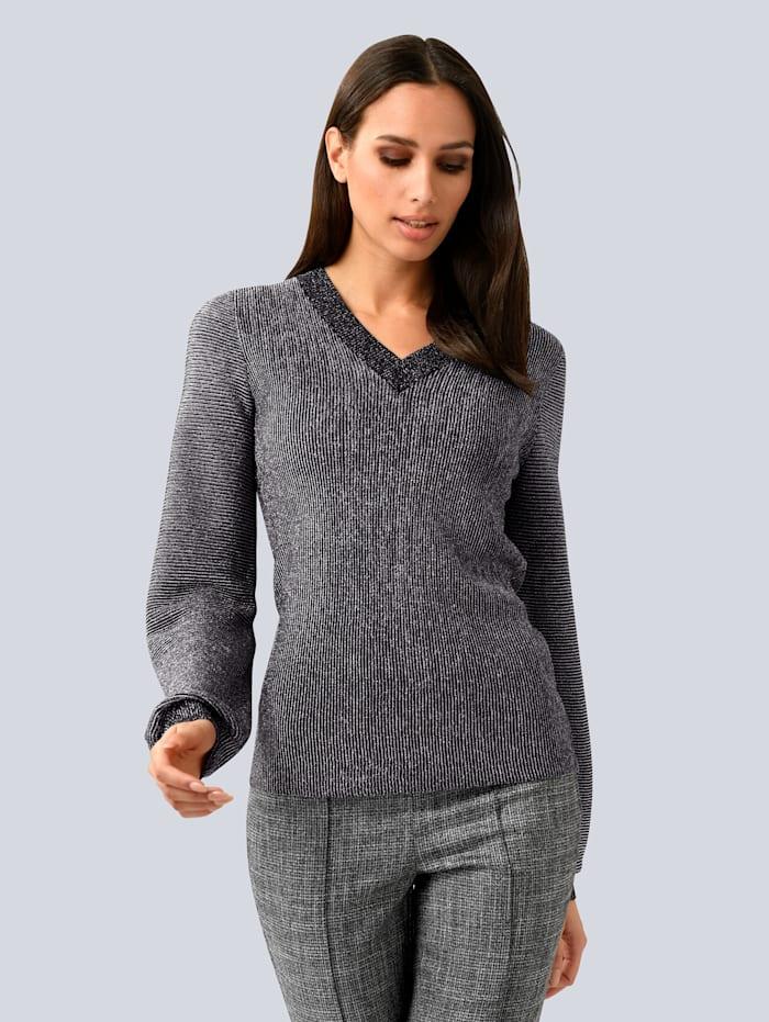 Alba Moda Pullover mit Glanzgarn, Schwarz/Silberfarben