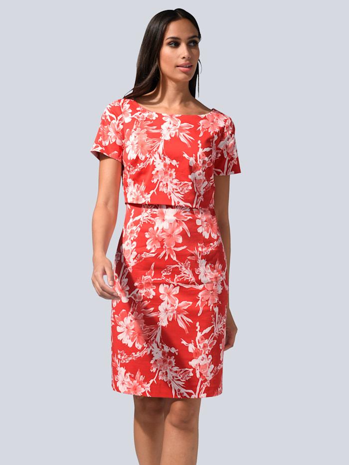 Alba Moda Kleid im Layering-Look, Koralle/Weiß