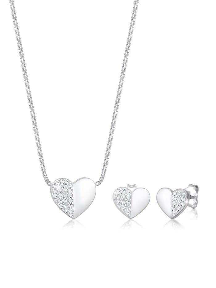 Elli Schmuckset Herz Liebe Swarovski® Kristalle 925 Silber Playful, Silber
