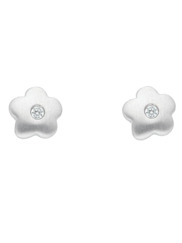 1001 Diamonds Damen Silberschmuck 925 Silber Ohrringe / Ohrstecker Blüte mit Zirkonia, silber