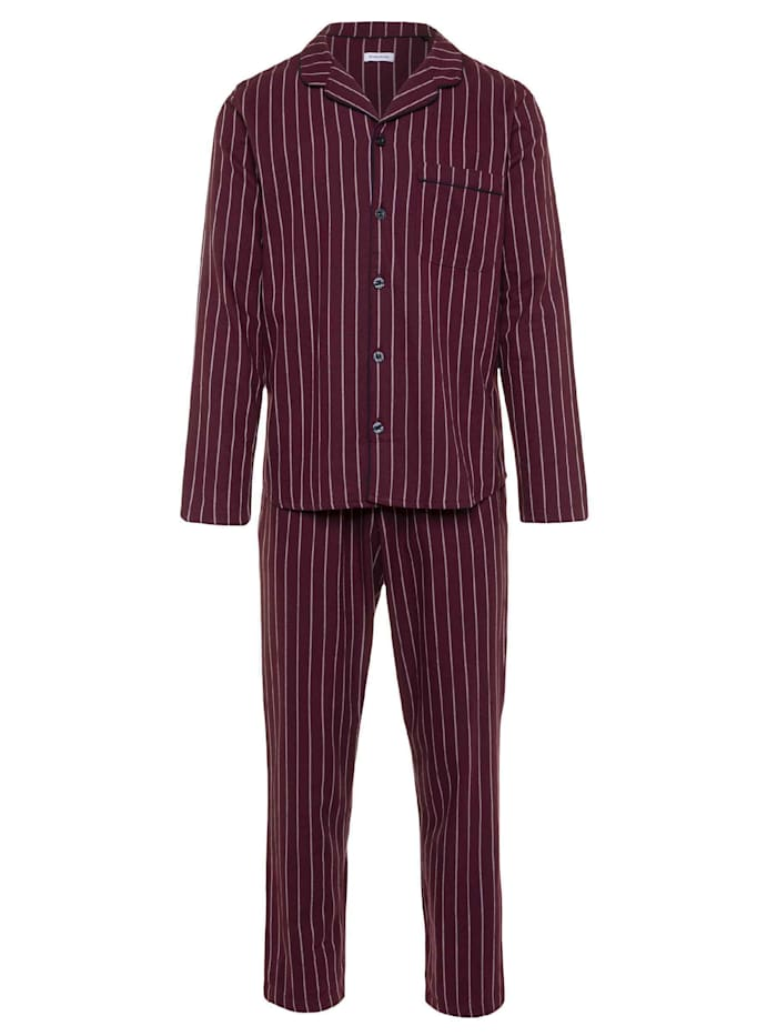 Seidensticker Flanell-Pyjama, lang Made in Germany, burgund