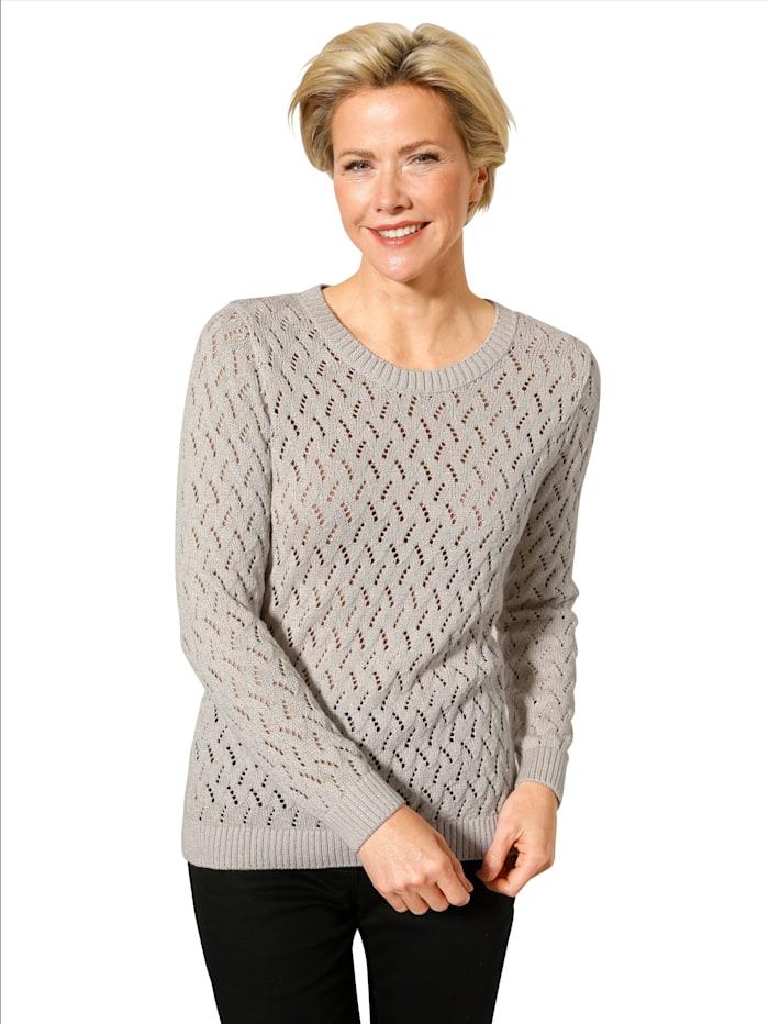 MONA Pullover aus grobem Ajourstrick, Kitt/Silberfarben