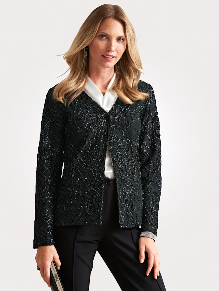 Blouse jacket with embroidery and shimmering thread