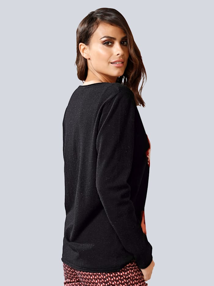 Pullover mit gefilztem Blumenmotiv