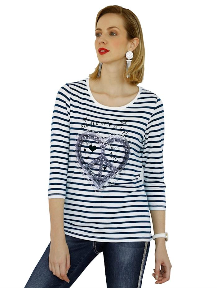 AMY VERMONT Shirt im Streifendessin und Pailletten im Vorderteil, Marineblau