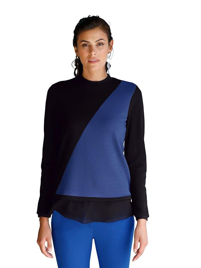 AMY VERMONT Shirt met afgeronde chiffonzoom, Zwart/Royal blue