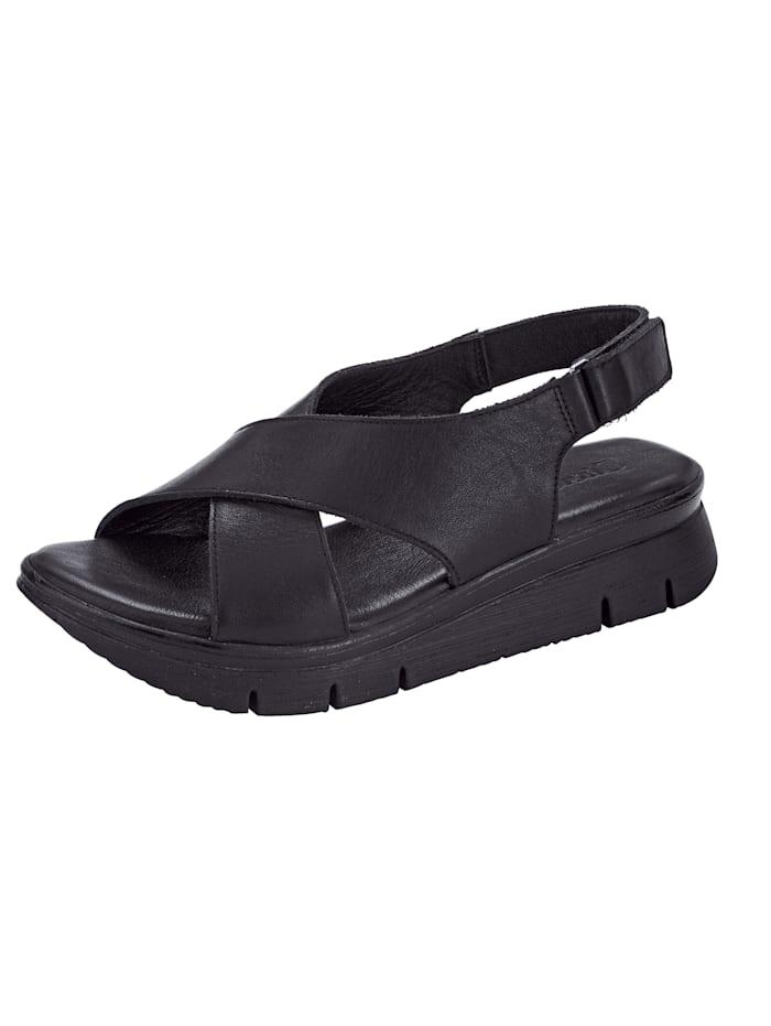 Sandales à plateau à brides croisées actuelles, Noir