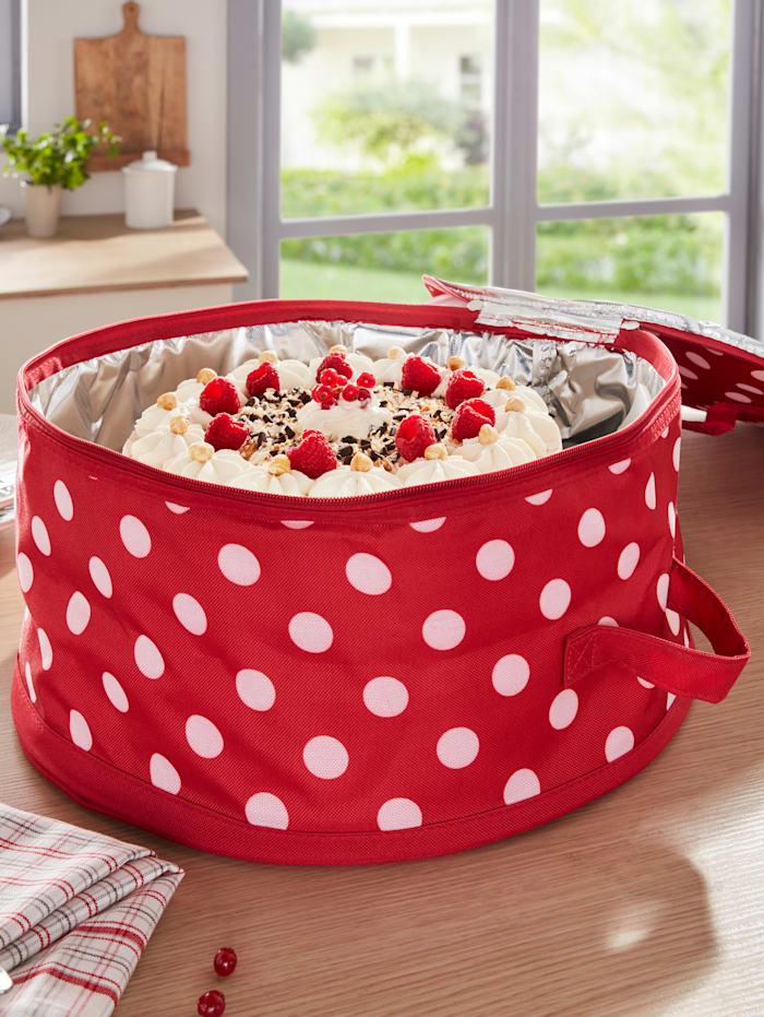 HELU Sac de transport isotherme pour tartes et gâteaux, Rouge/blanc
