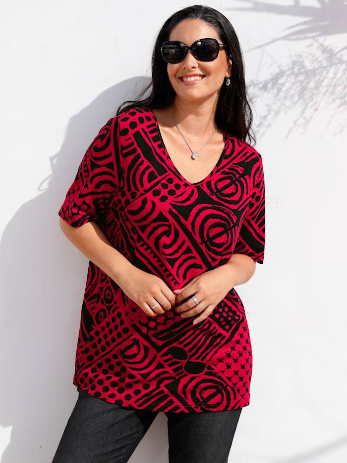 MIAMODA Graafinen paita, Punainen/Musta