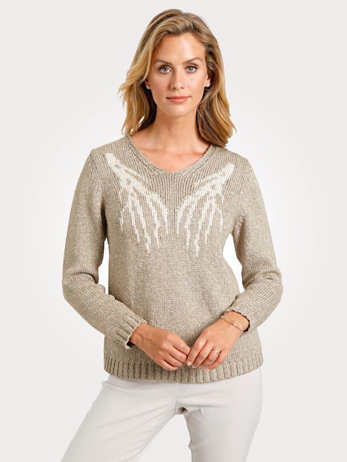 MONA Pullover mit Äste-Jaquard, Beige/Natur