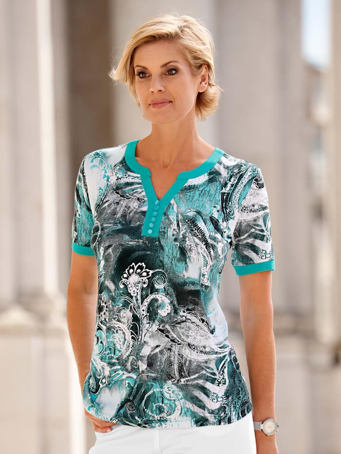 Paola Shirt met dessin, Smaragdgroen
