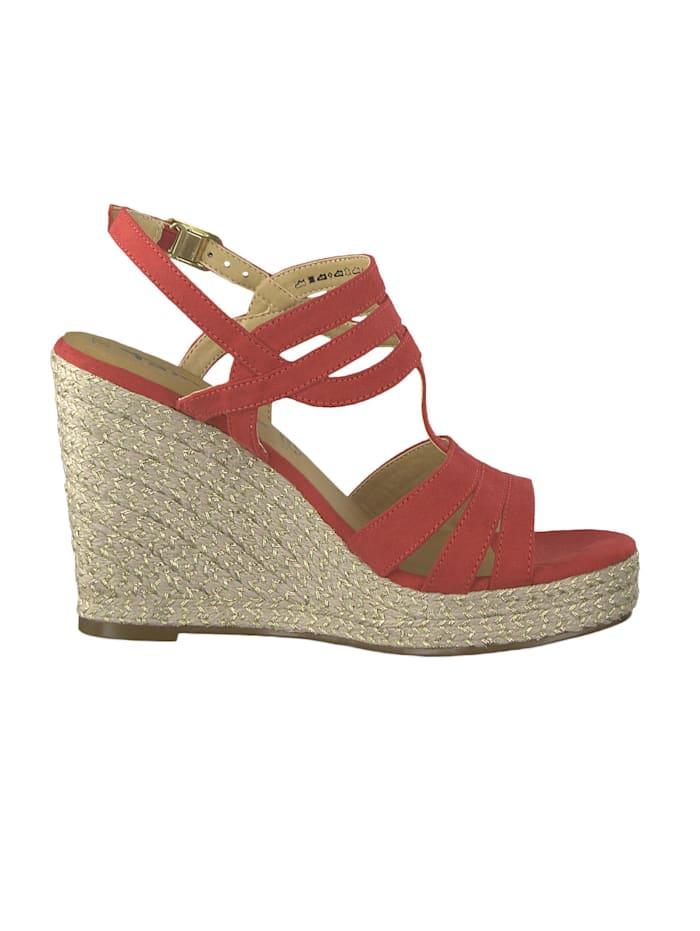 1-28372-22 515 Damen Lipstick Rot Wedge Platform Sandals Sandaletten