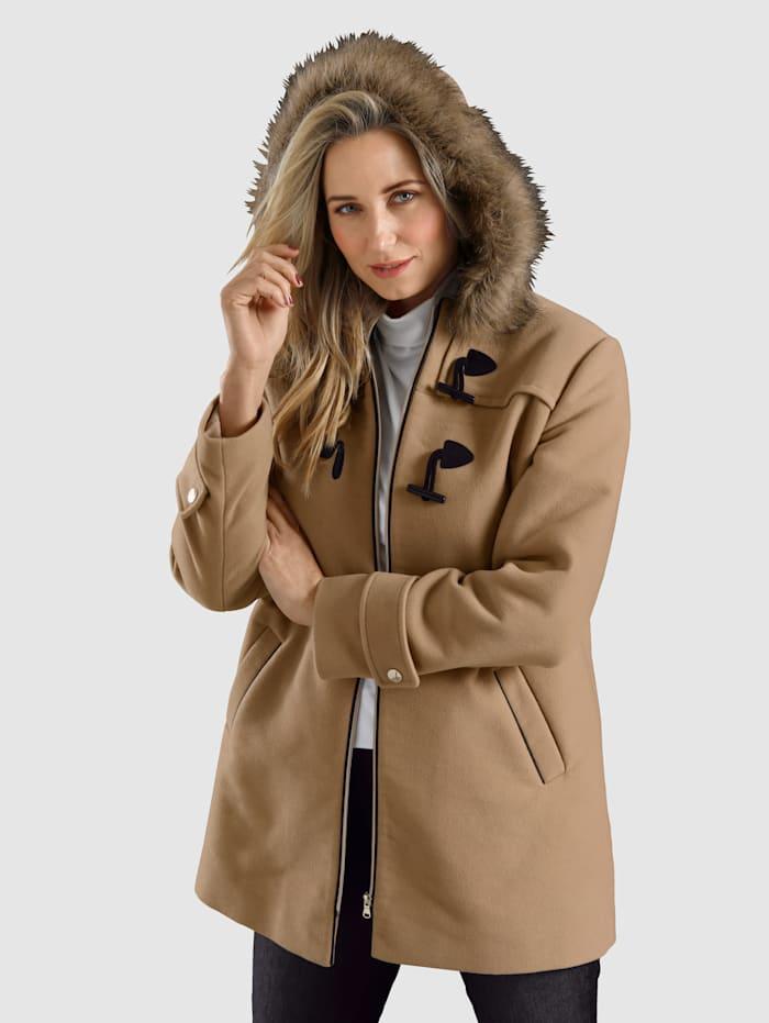 MIAMODA Kabát s odnímatelnoou kožešinou na kapuci, Velbloudí