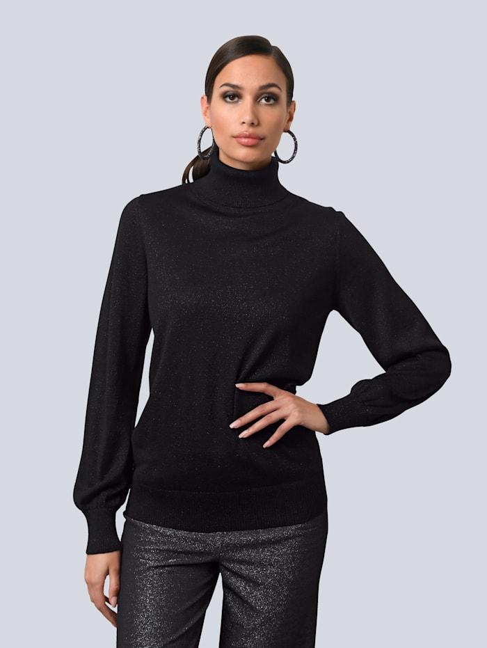 Alba Moda Pullover in Semi-transparentem Strick, Schwarz