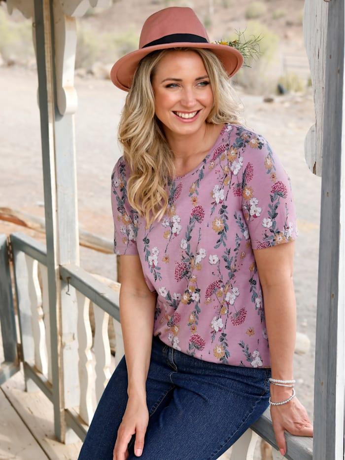 MIAMODA T-shirt long à imprimé floral devant et dos, Mauve