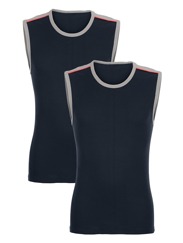 Cityshirt mit Kontrasteinsätzen und Paspelierung an Schulter und Armausschnitten 2er Pack