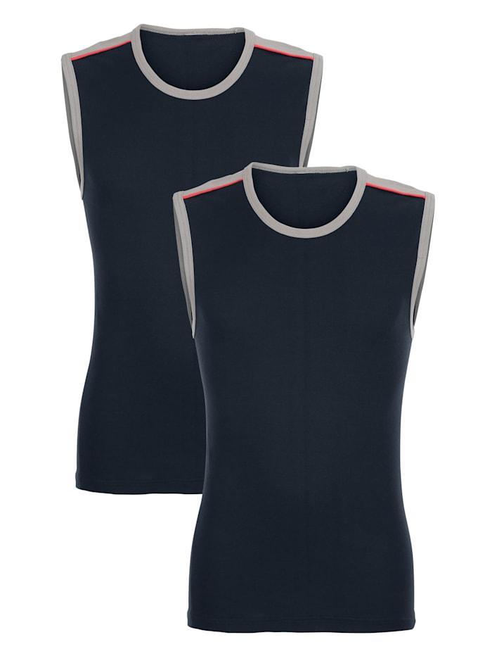 Mouwloos shirt met contrastinzetten bij de schouders 2 stuks
