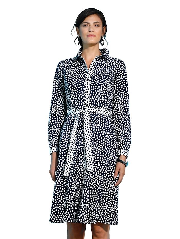 AMY VERMONT Kleid mit Bindegürtel, Schwarz/Weiß