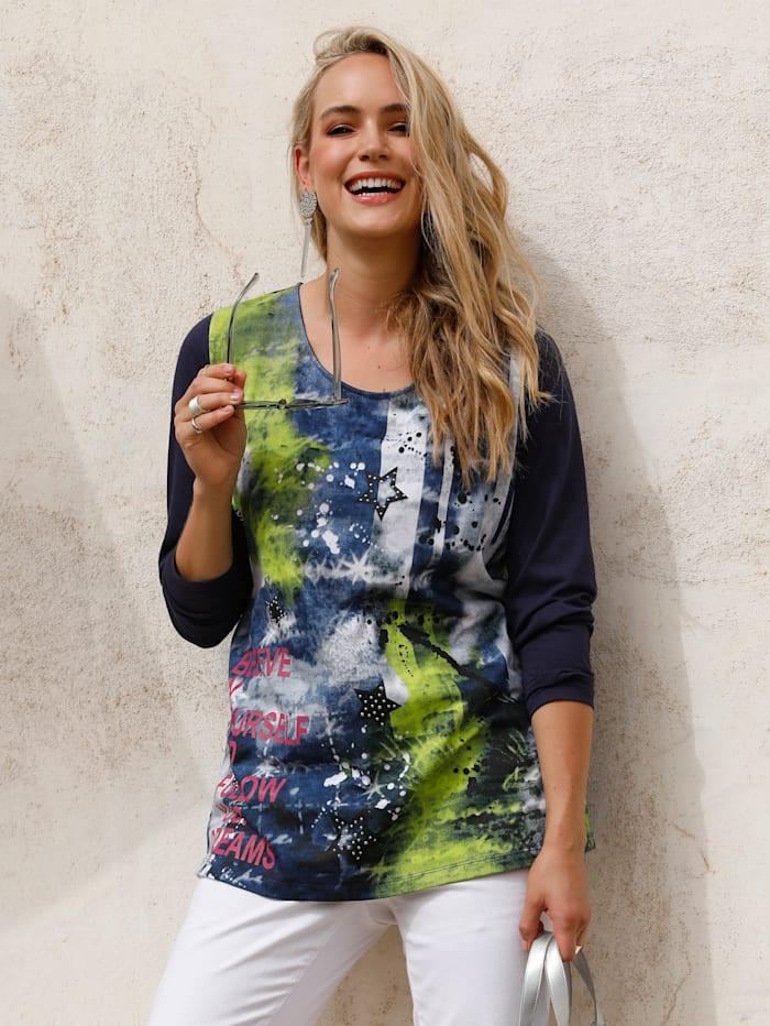 MIAMODA Shirt mit platziertem Druck im Vorderteil, Blau/Limettengrün