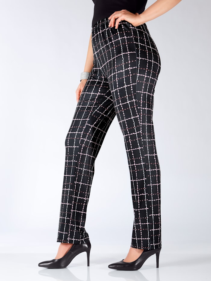 m. collection Broek met print rondom, Zwart/Wit/Bordeaux