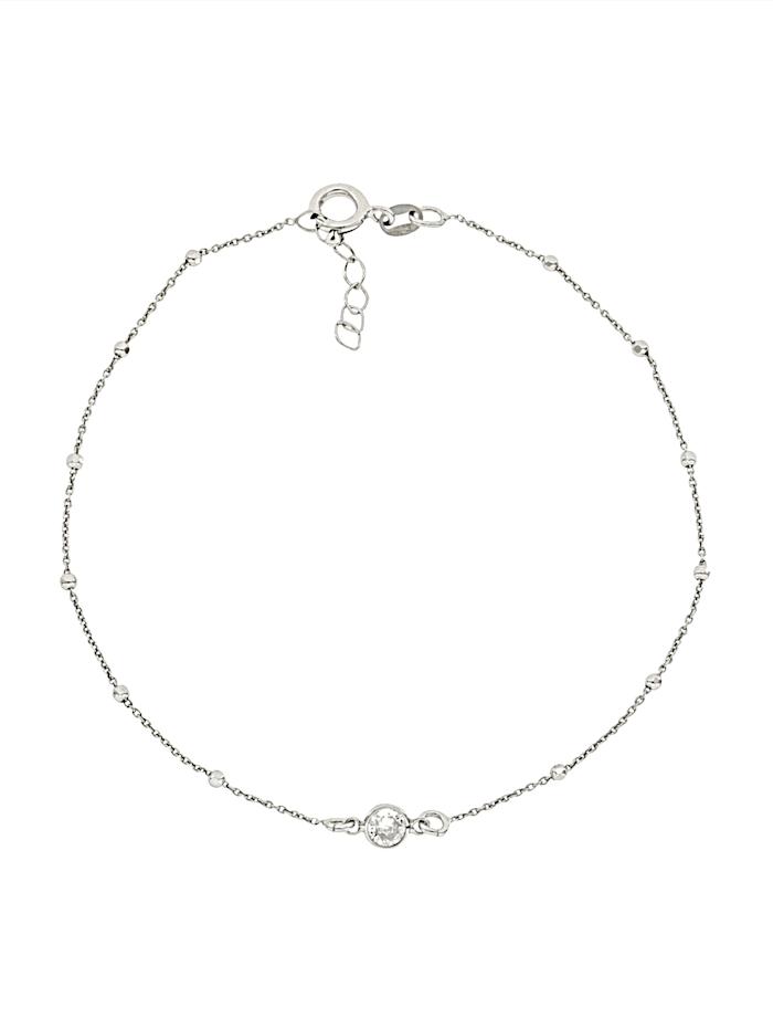 Grazielli Fußkette mit Zwischenelement, Weiß