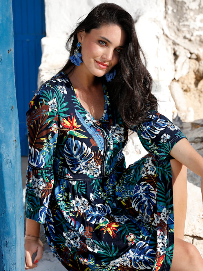 MIAMODA Kleid mit Bindeband am Ausschnitt, Multicolor