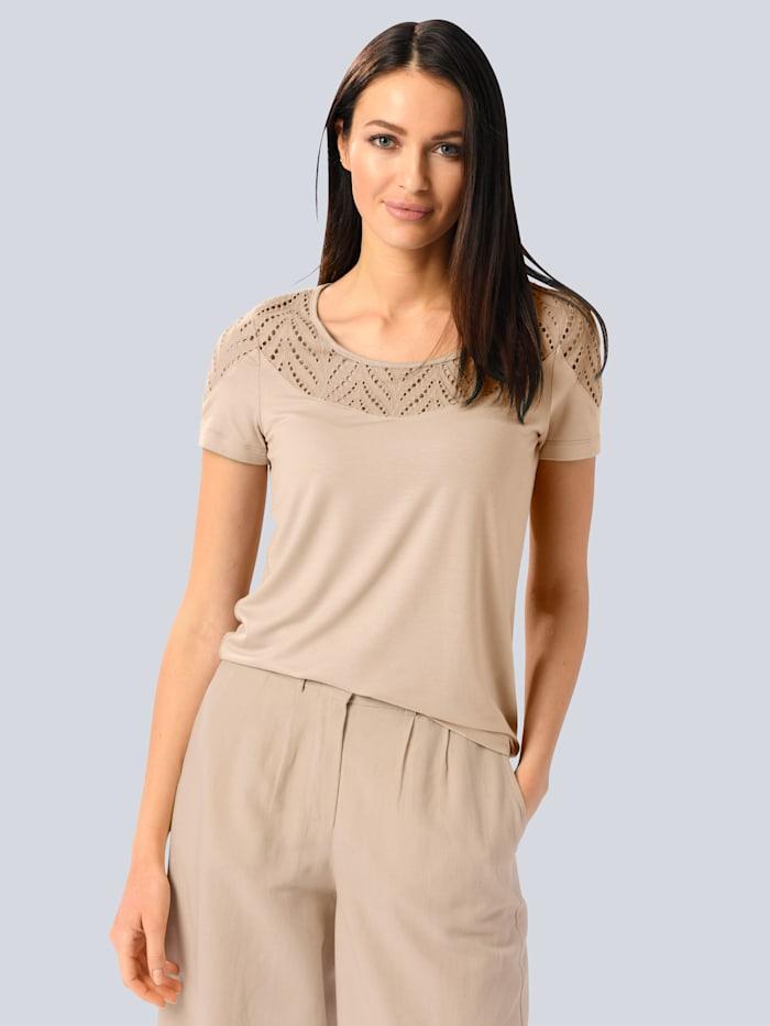 Alba Moda Shirt mit Lochstickerei, Creme-Weiß