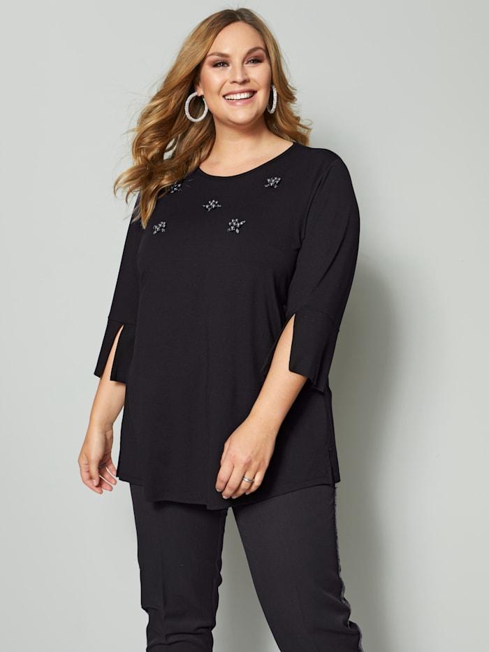 Sara Lindholm Shirt mit Perlen, Schwarz