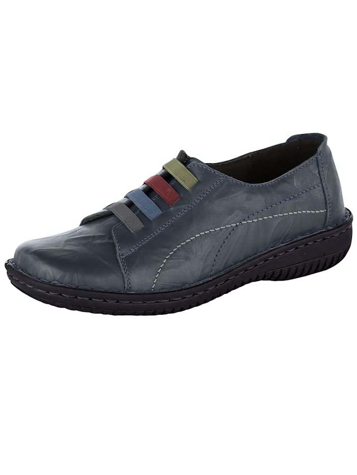 Slip-on shoe with four colourful elastic bands at front
