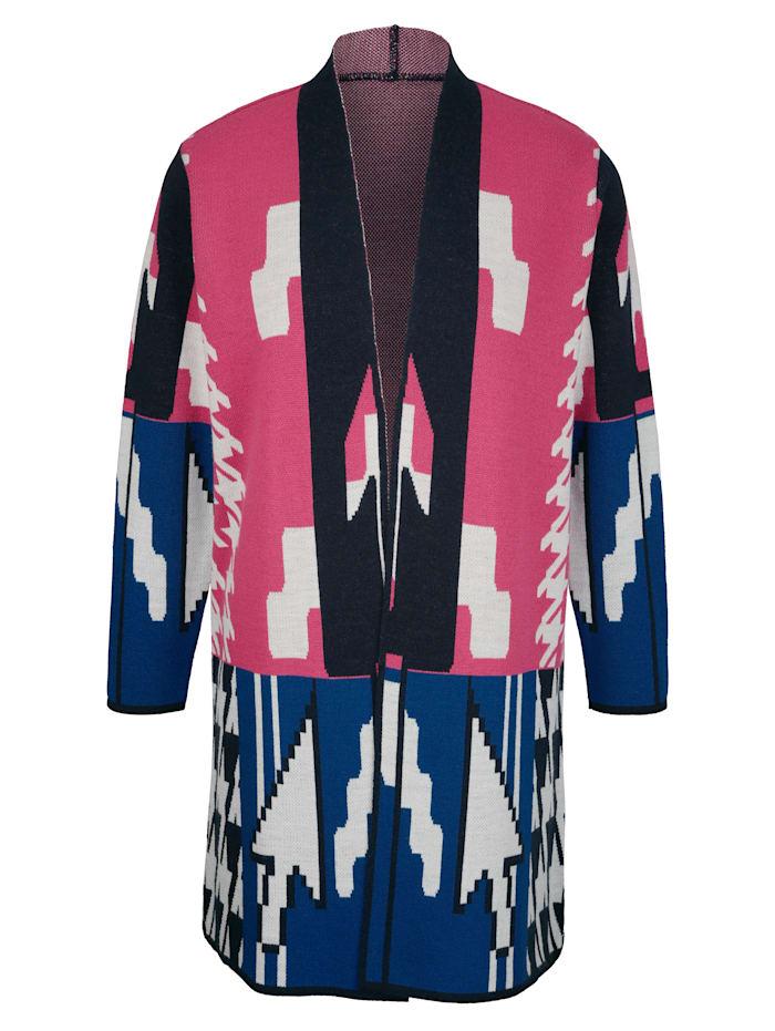 MIAMODA Longstrickjacke mit grafischem Strickmuster, Blau/Pink/Weiß