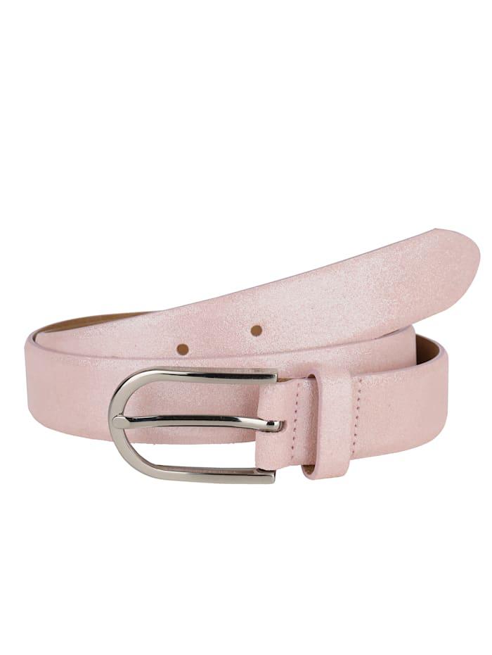 MONA Leather belt in a shimmering finish, Rosé