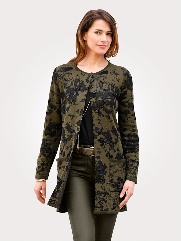 MONA Vest met jacquardpatroon, Olijf/Zwart/Goudkleur