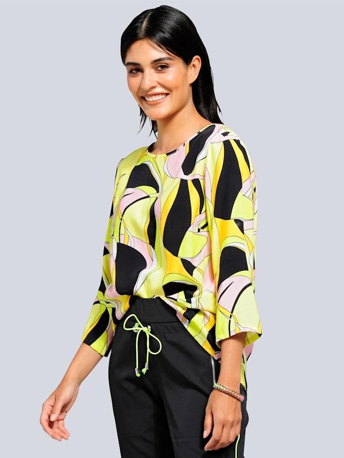 Alba Moda Bluse mit modischem Druck allover, Schwarz/Neongrün/Multicolor