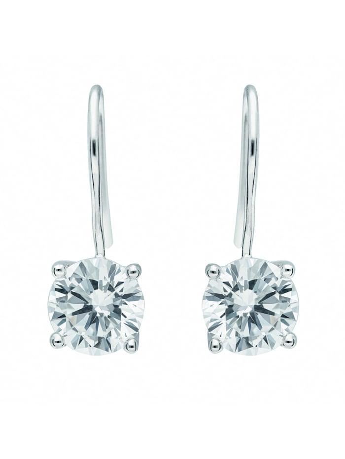 1001 Diamonds Damen Silberschmuck 925 Silber Ohrringe / Ohrhänger mit Zirkonia Ø 8,5 mm, silber