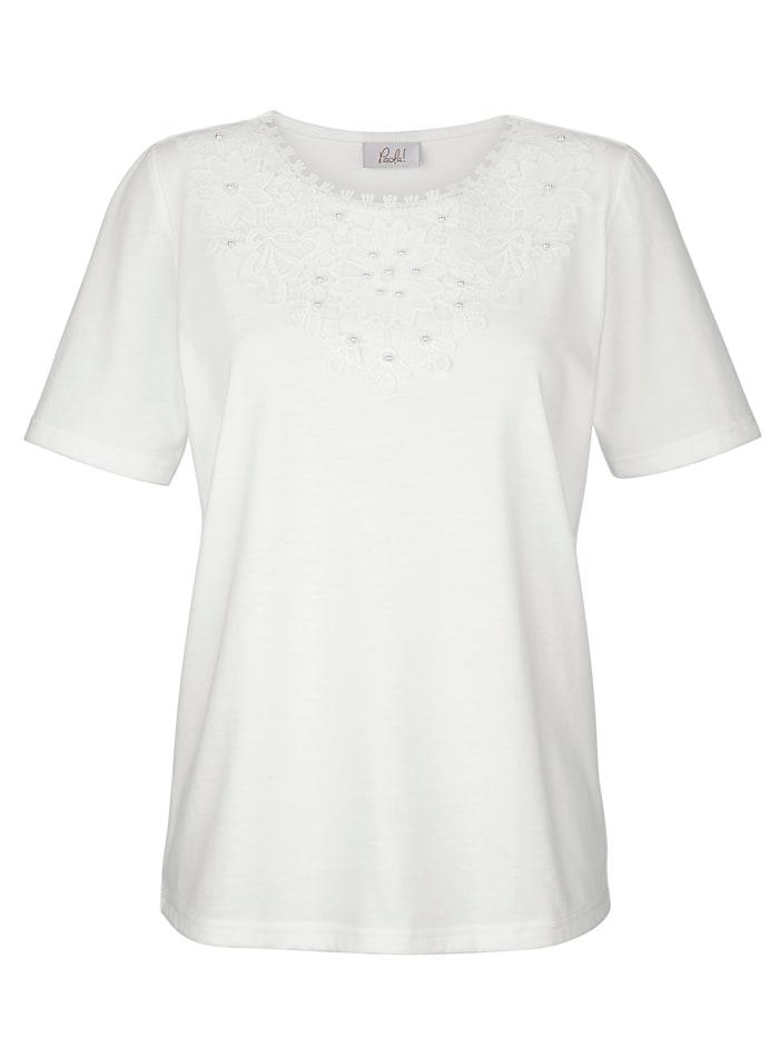 T-shirt avec dentelle fantaisie à l'encolure