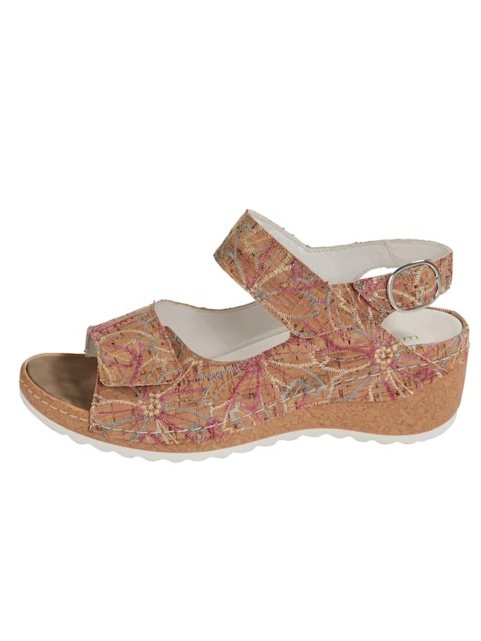 Sandale mit floralen Stickereien