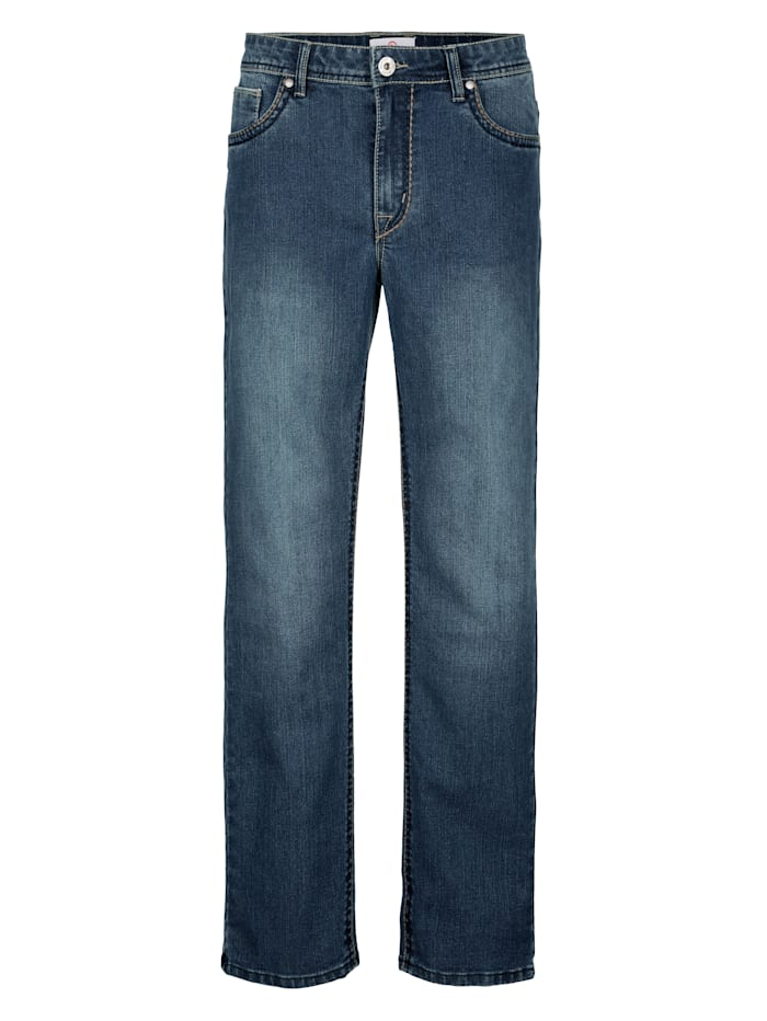 5-Pocket Jeans mit Sattlernähten in Kontrast