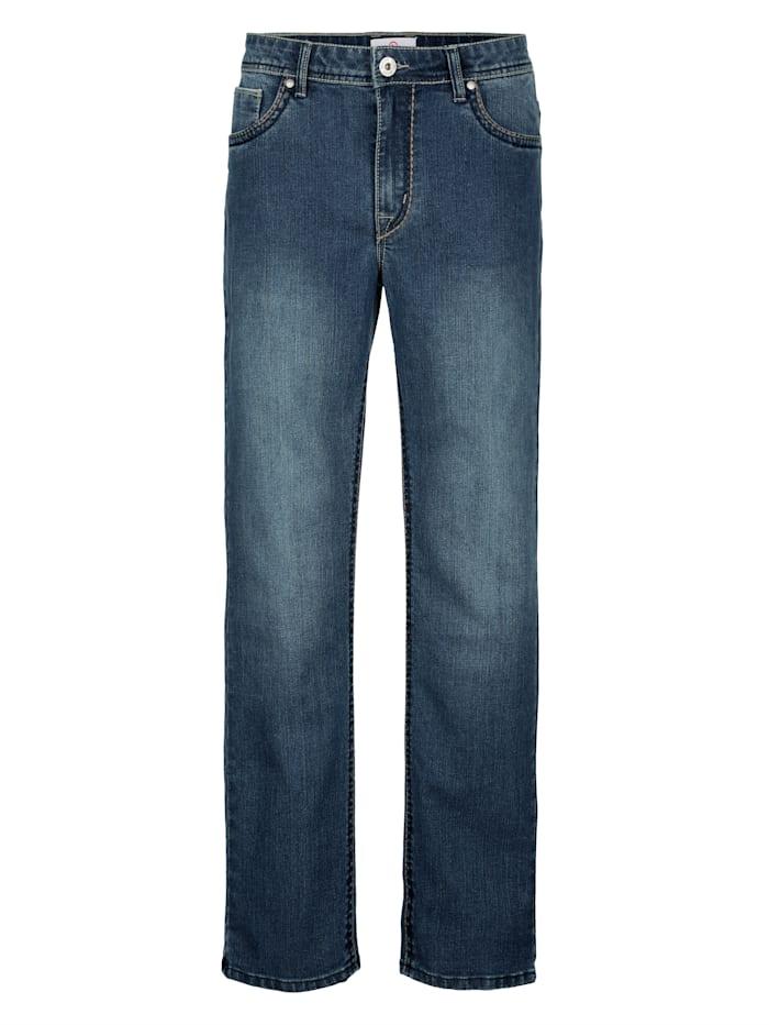 Jeans met contrastkleurige zadelsteken