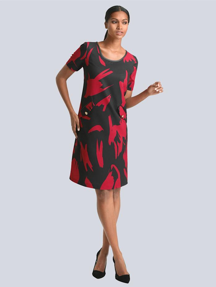 Alba Moda Kleid mit dekorativen Knöpfen an Zier-Patten, Schwarz/Rot