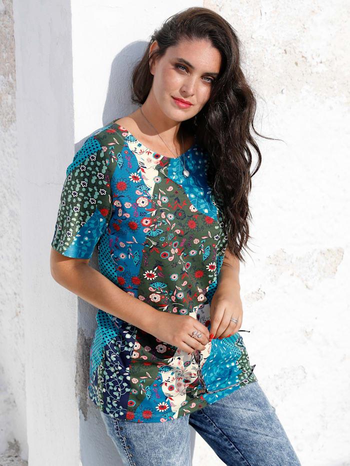 MIAMODA Tričko s květinovým potiskem, Modrá