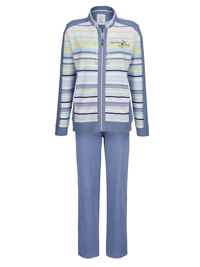 Hajo Fritidsdress i klimatutjämnande material, jeansblåmelerad/vit/ljusgul